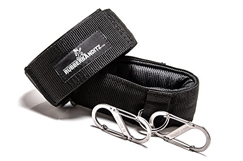 Rubberbanditz Ankle Cuff Grips and Carabiners For Resistance Band Training - Set Includes (2) Black Ankle Grips and (2) Wire Gate Stainless Steel Cara