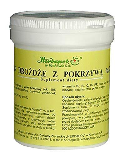 Herbapol w Krakowie SA Levadura de Cerveza y ortiga 120 comprimidos, Tratamiento contra la caída Cabello y la debilidad de Piel y Uñas