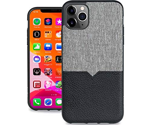 Evutec iPhone 11 PRO 5.8 Inch Northill Premium Leather Unique Heavy Duty Case +TPU Shock Proof Interior Protective Durable Stylish Phone Case Cover-Canvas/Black (AFIX+ Vent Mount Included)