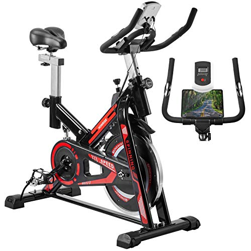 No-branded Exercise Bikes Stationary Bike Magnetic Bicycle Cycling Bike Belt Drive Indoor Fitness Bike Workout Bike with Ipad Holder LCD Display for Home Black