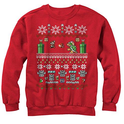 Men's Nintendo Ugly Christmas Mario and Bowser Sweatshirt - Red - Medium
