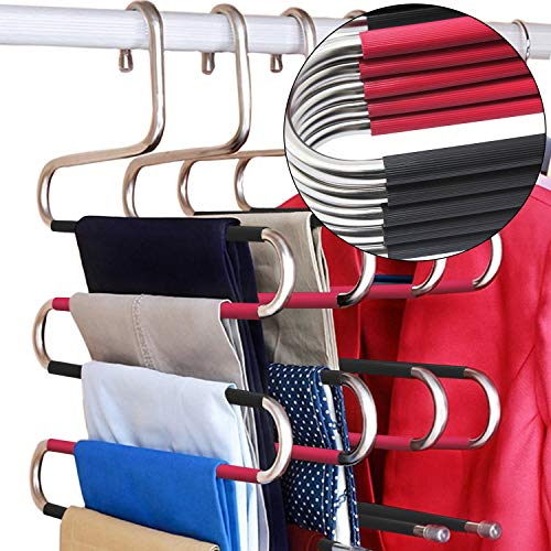 DOIOWN S-Type Stainless Steel Clothes Pants Hangers Closet Storage Organizer for Pants Jeans Scarf Hanging (14.17 x 14.96ins, Set of 3) (5-Pieces-Black&Rose(Upgrade Style))