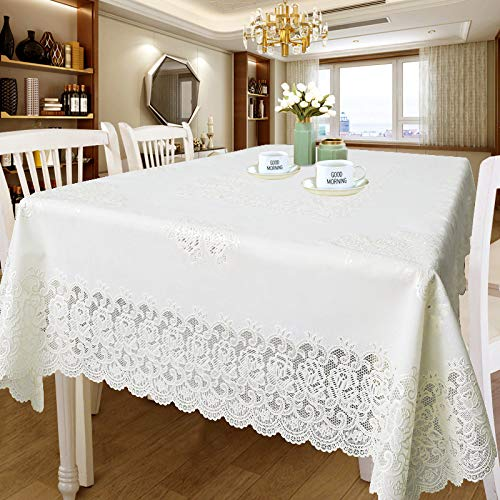 CAREXY Tischdecke Spitze Vinyl,PVC Rechteckig Wasserabweisend Küchentischabdeckung Hitzebeständig Tischtuch Für Garten Outdoor Speisetisch,D-130 * 180cm