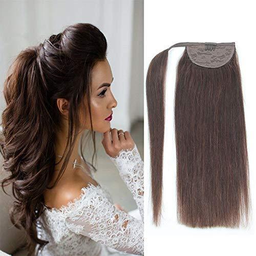 Brazilian Human 卓出 Hair Ponytail Extension Wrap - A 16inch Straight 100%品質保証!