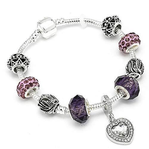Europese en Amerikaanse mode juwelen-zilver vergulde 925 kroonkralen sleutel kristal hart bedelarmband past merk armband voor vrouwen DIY sieraden, Thumby 18cm A13