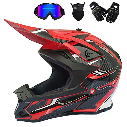 MRDEAR Casco de Motocross Negro Rojo, Pro Casco Cross Adulto con Gafas/Mascarilla/Guantes, Casco Descenso Hombre MX Enduro MTB Quad Off Road ATV Scooter, Forro Extraíble,XL