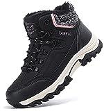 TARELO Botas Mujer Botines Zapatos Invierno Forro Aire Libre Urbano Montaña Cuero Antideslizante Caminar Senderismo Boots Tamaño 36-41(EU, Negro, Numeric_38)