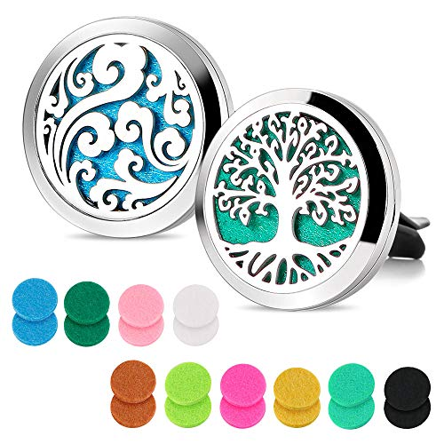 Maromalife Car Diffuser Vent Clip 2 PCS Aromatherapy Car Vent Clips 1.2 Inches Essential Oil Car Diffuser Lockets with 20 Refill Pads(Tree & Cloud)
