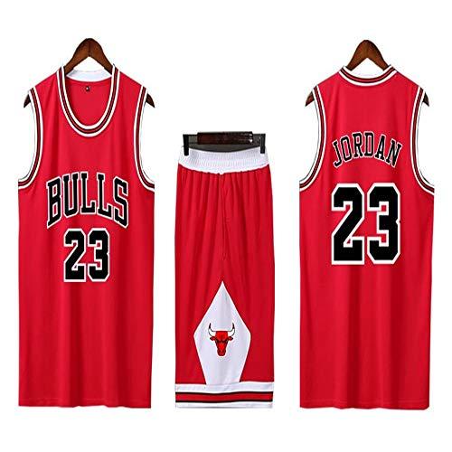 BASPORT Chicago Bulls # 23Jordan Basket ,Abbigliamento Genitore-Figlio per Sportivo da Basket per Adulti Completo da Uomo (Rosso, 3XL)