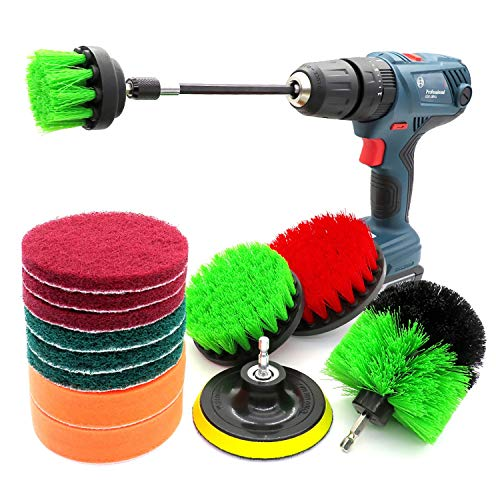 TnSok Cleaning Scrub Brush Drill Power Brush Attachment Set Scrubber Cleaning Brush Kit 14Pack All Purpose Cleaning Tool with Extended Reach (Color : Multi-colored, Size : Free size)