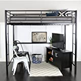 Walker Edison Orion Urban Industrial Metal Double Over Loft Bunk Bed, Full Double, Black