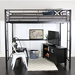 "Dimensions: 71"" H x 79"" L x 55"" W Powder-coated finish Loft supports 250 pounds Use only a mattress which is 74 - 75 inches l x 51.5-52.5 inches w x 9 inches H on the upper bunk"