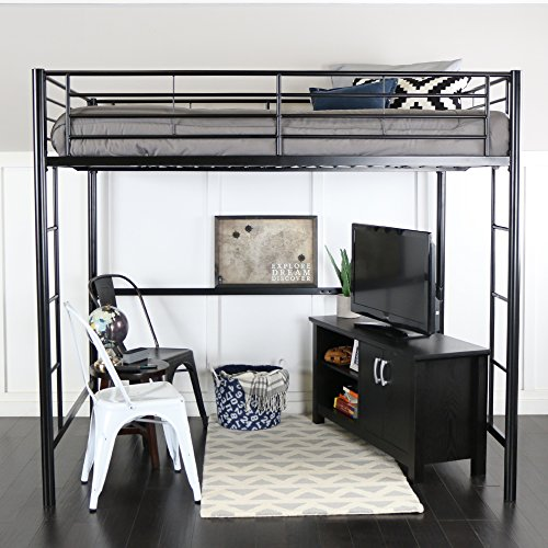 Walker Edison Furniture Modern Metal Pipe Full Double Size Loft Kids Bunk bed Bedroom Storage Guard Rail Ladder, Black