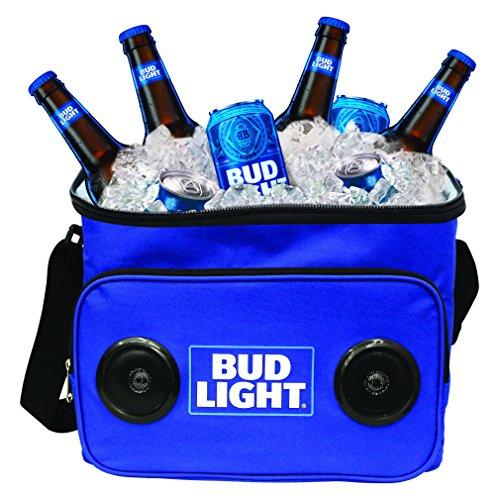 Bud Light Refrigerador de viaje portátil con altavoces incorporados BudLight altavoz inalámbrico Cool Ice Pack cerveza fría estéreo para Apple iPhone, Samsung Galaxy