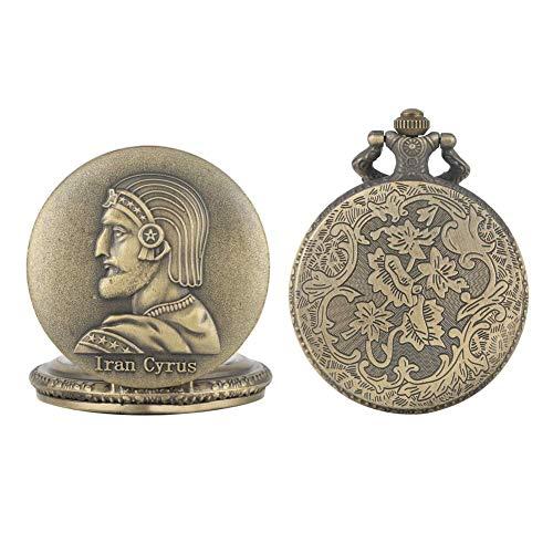 Nfudishpu Charmante iranische Cyrus The Great Pattern Case Uhr Premium Quarz Taschenuhren Elegante Legierung Halskette Kette Taschenuhr für Freunde