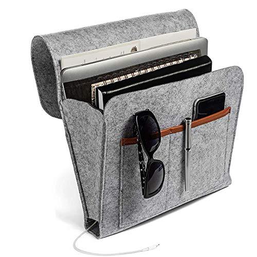 Bedside Pocket Thick Felt Bedside Caddy Aufbewahrungstasche Insert Sofa Double Layer Hanging Organizer für DVD, Magazine, Tablet, Fernbedienungen usw.-Gary