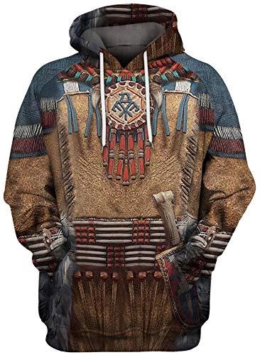 QYIFIRST Sudadera con capucha para disfraz de indios con capucha, unisex, impresin 3D, color marrn, talla 3XL, pecho 119 cm