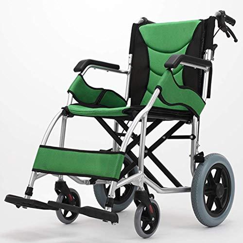 KANJJ-YU Silla médica de rehabilitación, sillas de ruedas, silla de ruedas plegable ligero ajustable de conducción médica, aleación de aluminio de ancianos discapacitados portátil de viaje de cuatro r