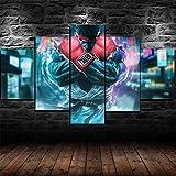 Impression sur Toile 5 Parties Tableau Tableaux Street Fighter RYU Decoration Murale Photo Image Artistique Photographie Graphique Abstrait HD Imprimé Maison Décor À La Cadre