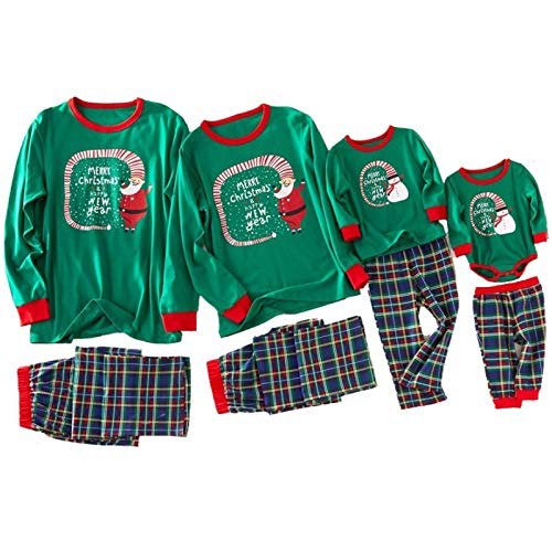 huateng Navidad Conjunto de Pijama a Juego con la Familia, Xmas Impreso Manga Larga Cuello Redondo Tops + Plaid Pantalones Pjs Ropa de Dormir Homewear