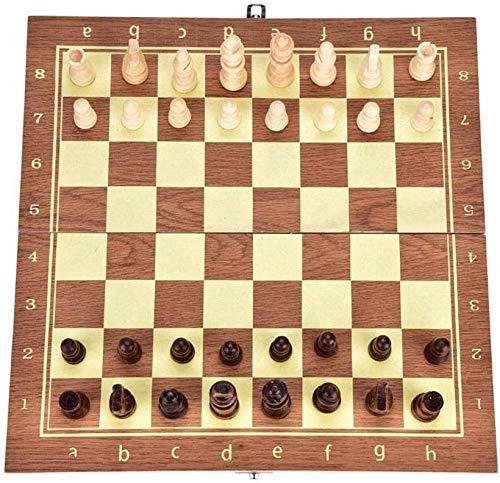 Juego de ajedrez, Ajedrez 34.5 34 cm Tablero Plegable de Madera Juego de Piezas de ajedrez Internacional Juego de Piezas de ajedrez Estilo Staunton Colección Juego de Mesa portátil Juego de Mesa por