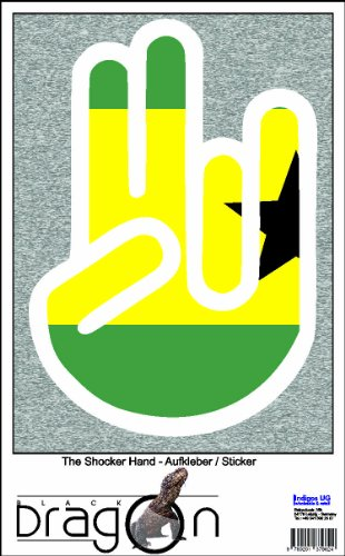 INDIGOS UG The Shocker Hand - Wandtattoo/Wandaufkleber/Aufkleber - weißer Umriss mit Fahne/Flagge - Sao Tome-Sao Tome 100 cm