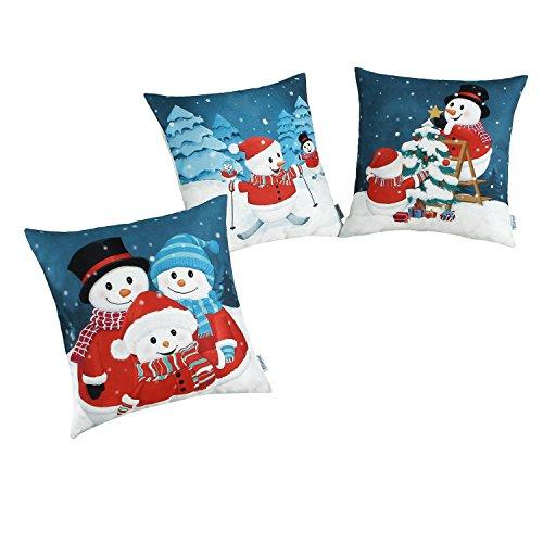 Housses de coussin CaliTime 3 Paquet Coussin Couvertures Cas Jeter Oreiller Protecteur Coquilles pour Canapé Chambre Accueil Noël Décor (45cm x 45cm)