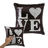 Cojín de Lentejuelas Negro con corazón romántico para salón de 40x40 Factory - LOLAhome