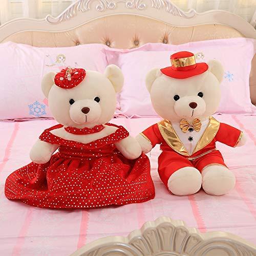 XINRUIBO Hochzeit Druck Bett Puppe EIN Paar glückliche Hochzeitspaare halten Kissen Puppe kreative Hochzeit Bär Hochzeitsgeschenk 60cm roten Anzug rotes Brautkleid Kuscheltier
