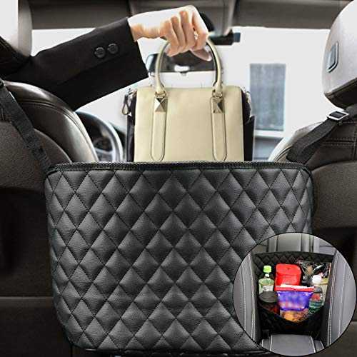 Car Net Pocket Handbag HolderWiteo Car Leather Seat Back Organizer Large Capacity Net BagPurse Storage amp Pocket between Car Seat Storage Barrier of Back Seat KidsLeatherBlack