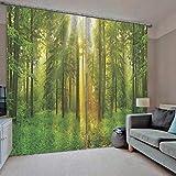 xmydeshoop Finestra di Blackout di Lusso 3D Tende Set per Camera da Letto Living Room Hotel Decorativo Muro di Casa Verde di Sole boschi tende su misura 230(H) x140(W) Cmx2
