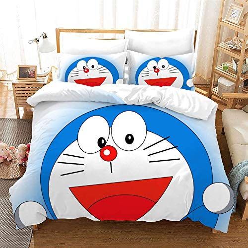 POPCC Doraemon: Doraemon 1007 Bedding Sets, Duvet Cover Sets, for Otaku and Anime Fan's Room 3Pcs 1 Quilt Cover & 2 PillowcasesEU King(240x220cm)