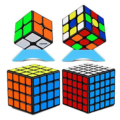 競技用 キューブ 魔方 立体パズル 4個セット 2×2、3×3、4×4、5×5 Magic Cube Set 競技専用 脳トレ 知育玩具 対象年齢:6歳以上