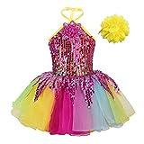 iEFiEL Vestito da Ballerina Bambina Abito da Principessa Compleanno Leotard con Paillettes Vestito da Ballo Danza Balletto Jazz Spettacolo Saggio Tutu Fascia 0-14 Anni Colorato A 10-12 Anni
