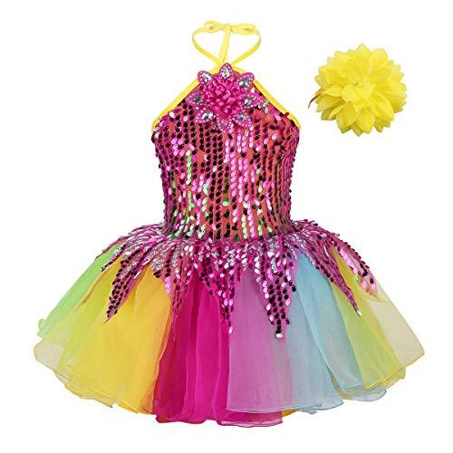 iEFiEL Mädchen Kleid Ballettkleid Pailletten Kleid Tütü Ballett Trikot Kinder Tanz Kostüm Prinzessin Kleid Weihnachten Verkleidung Karneval Party Fest Bunt 110-116