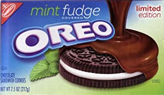 Oreo Mint Fudge Covered Limited Edition Chocolate Sandwich Cookies 7.5 oz (Pack of 4)