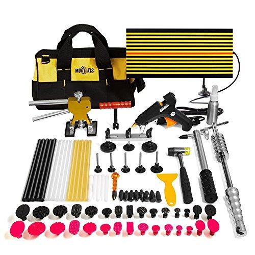 Mookis Dellen Reparaturset Ausbeulwerkzeug, 77PCS Lackfreies Dellen Werkzeug mit Dent Puller Kit für Hagelschaden und Dellen Reparatur
