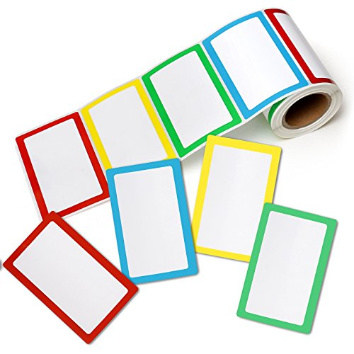 Pacific Mailer Colorful Plain Name Tag Sticker Labels [200 Labels, 3 1/2