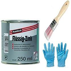 Flüssig-Zink Dose Wetterfest und Farbtonstabil Farbe: silber inkl. 1x synthetischen Pinsel von E-Com24 zum Auftragen und Nitrilhandschuhe (flüssig-Zink 250 ml)