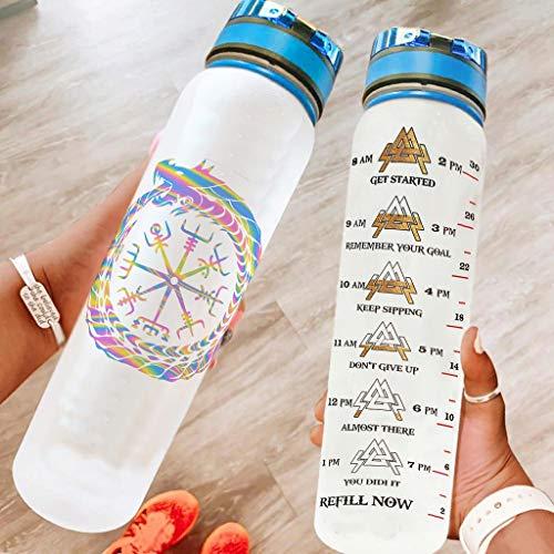DAMKELLY Store Botella deportiva ligera de alta calidad Viking con correa Crayy para entrenamiento, color blanco, 1000 ml