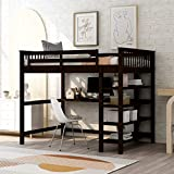 Full Loft Beds, Wood Loft Bed with Desk and Shelves, Wooden Full High Loft Bed with Bookcase for Dorm, Boys & Girls Teens Kids, Espresso