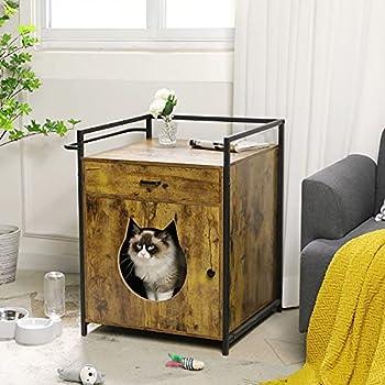 MSMASK Maison pour Chat, Enceinte de litière pour Chat avec tiroir de Rangement, Meubles de Plateau à litière caché, Toilettes pour Chat intimité (Marron)