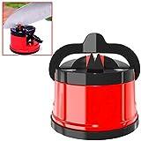 OcioDual Afilador de Cuchillos Navajas Base con Ventosa para Cocina Fijacion Manual Rojo