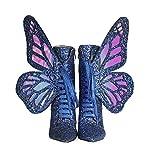 Rong-- Moda Botines para Mujer con Antideslizante Suela De Goma Y Alas De Mariposa Extraíbles para Otoño E Invierno, Diseño Individual,Azul,34