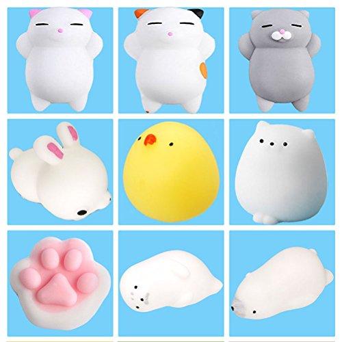 9Pcs Mini Kawaii Suave Cat Pollo Cierre elástico Squishy Juguete con Caja Mochi Squeeze Toy Stress Reliever