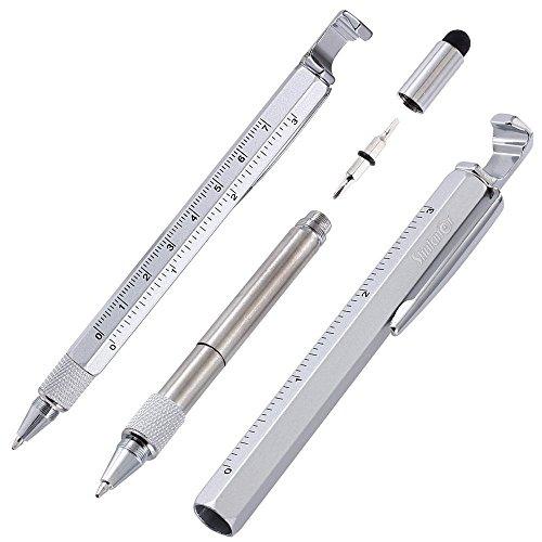 Shulaner 7 en 1 Tech Herramienta Bolígrafo con regla, abrebotellas, teléfono soporte, bolígrafo, lápiz capacitivo y 2 Tornillo herramienta conductor, multifunción, Fit para hombre padre regalo Silver