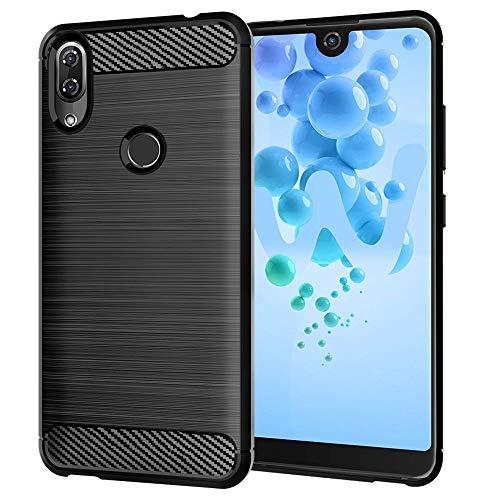 ebestStar - kompatibel mit Wiko View 2 Hülle Kohlenstoff Design Schutzhülle, TPU Handyhülle Flex Silikon Hülle, Schwarz [Phone: 154.5 x 72 x 8.3mm, 6.0'']