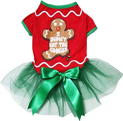 Petitebella Christmas Theme Puppy Dog Dress (Gingerbread Man, Large)