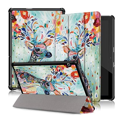 Xuanbeier Ultradunne Hulle Kompatibel mit Huawei MediaPad T5 10 Magnetisch Schutzhulle mit Stander Funktion Hirsch