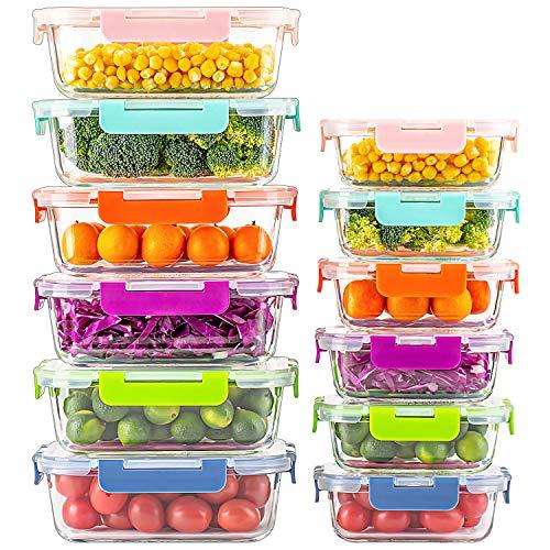 UMIZILI Lot de 12 boîtes de rangement en verre avec couvercles multicolores pour la préparation des repas